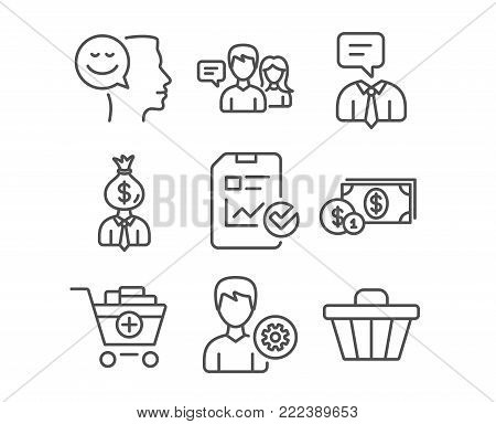 Set of Support service, Manager and People talking icons. Good mood, Support and Report checklist signs. Dollar money, Add products and Shop cart symbols. Human talking. Work profit. Contact service