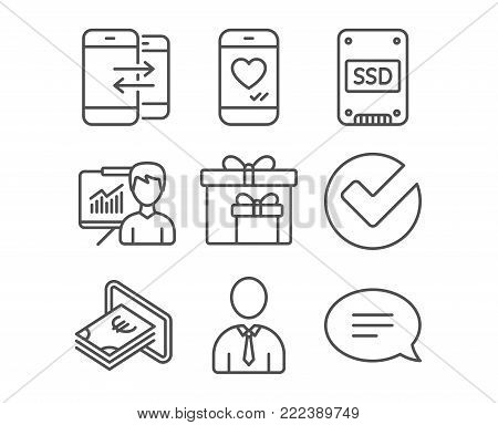 Set of Phone communication, Presentation and Verify icons. Love chat, Delivery boxes and Cash signs. Human, Ssd and Chat symbols. Incoming and outgoing calls. Education board. Selected choice. Vector