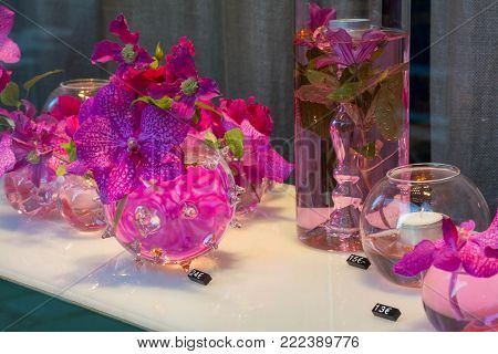 Pink Orchid in an unusual vase with the price tag