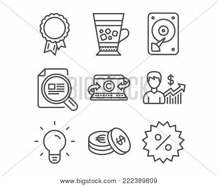 Set of Hdd, Frappe and Savings icons. Check article, Light bulb and Success signs. Copywriting notebook, Business growth and Discount symbols. Hard disk, Cold drink, Cash coins. Vector