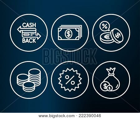Set of Currency exchange, Discount and Cashback card icons. Banking, Tips and Cash signs. Euro and usd, Special offer, Money payment. Cash coins, Banking currency.  Editable stroke. Vector