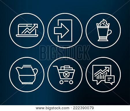 Set of Milk jug, Remove purchase and Latte coffee icons. Login, Sales diagram and Accounting signs. Fresh drink, Delete from cart, Hot drink with whipped cream. Vector