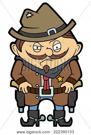 Illustration funny wild west sheriff with guns in a flat cartoon style poster