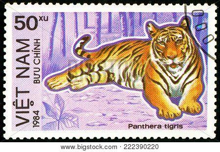Ukraine - circa 2018: A postage stamp printed in Vietnam show Tiger or Panthera tigris. Series: Endangered Animals. Circa 1984