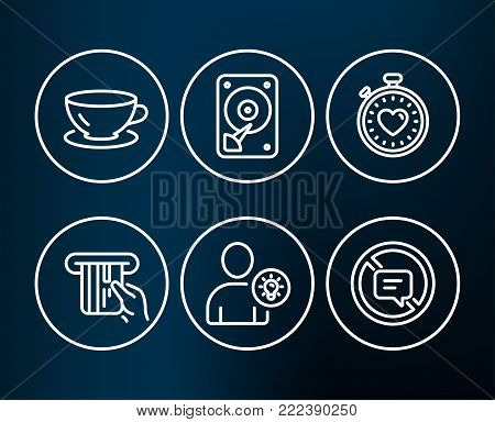 Set of Credit card, Hdd and User idea icons. Espresso, Heartbeat timer and Stop talking signs. Atm payment, Hard disk, Light bulb. Coffee cup, Love stopwatch, Do not talk.  Editable stroke. Vector