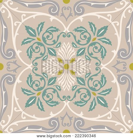 Vector seamless pattern tiling with arabesque in old style
