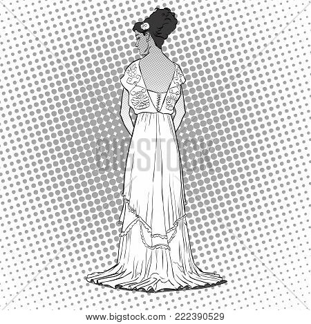 The sketch with the young graceful model. Back view of the dress. Long evening gown with open back. Elegante slenderness. Romantic image. Skinny body silhouette. Haute couture fashion show.
