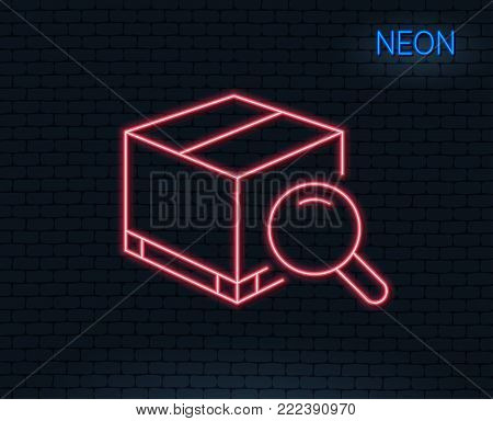 Neon light. Search package line icon. Delivery box sign. Parcel tracking symbol. Glowing graphic design. Brick wall. Vector