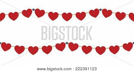 Red hearts garlands on white. Valentines day card. Vector illustration
