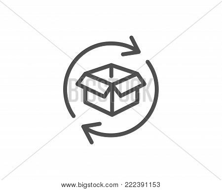 Exchange of goods line icon. Return parcel sign. Package tracking symbol. Quality design element. Editable stroke. Vector