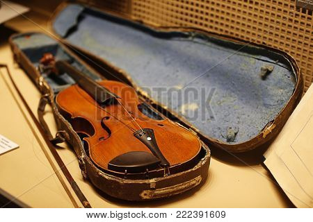 Antique violin in a wooden case of the thirties