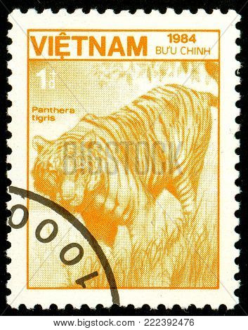 Ukraine - circa 2018: A postage stamp printed in Vietnam show Tiger or Panthera tigris. Series: Fauna and Flora. Circa 1984.