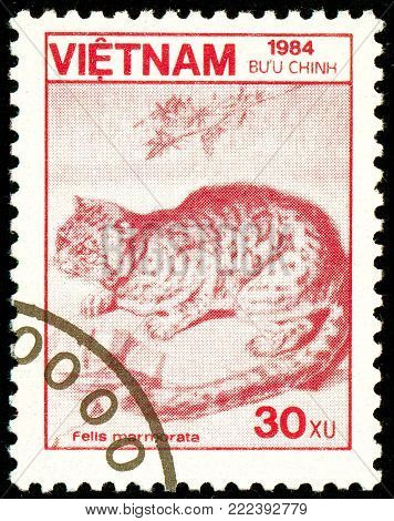 Ukraine - circa 2018: A postage stamp printed in Vietnam show Marbled Cat or Felis marmorata. Series: Fauna and Flora. Circa 1984.