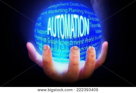Automation globe people background blue plan power
