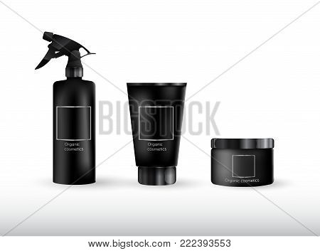 Realistic cosmetic bottle mock up set package.  Cosmetic brand template.3d cosmetic bottle. Vector cosmetic packaging. Blank cosmetic package.  Cosmetic isolated product.