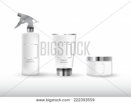 Realistic cosmetic bottle mock up set package.  Cosmetic brand template.3d cosmetic bottle. Vector cosmetic packaging. Blank cosmetic package.  Cosmetics beauty products.