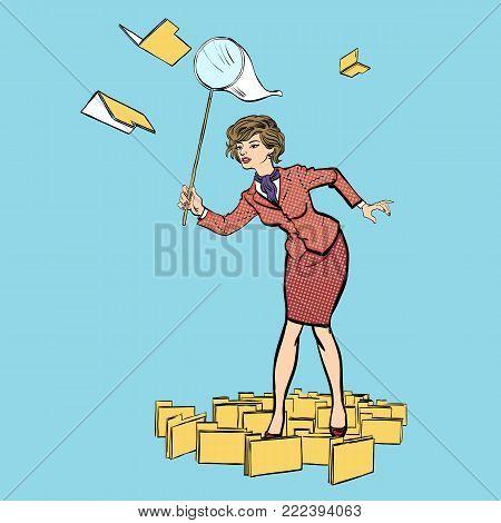 Business woman running catch money, Woman catching papers. hoop-net. scoop-net