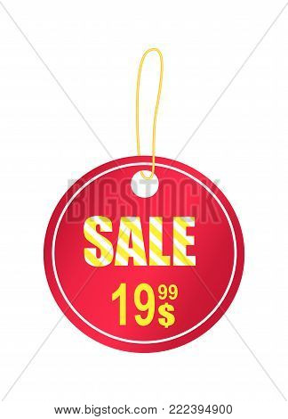 Sale trinket with light yellow cord, vector illustration of red pendant consisting of two circles with advertising text isolated on white background