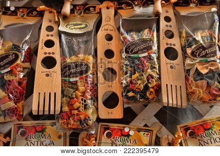 Rome, Italy - April 09, 2017: Sale of national Italian pasta at the street souvenirs shop. Mixed dry pasta types collection