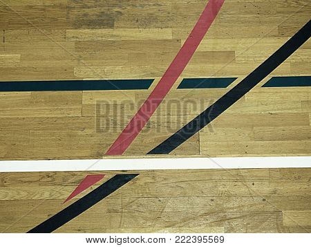 Basketball hall indoor wood parquet field room. Empty sporting hall