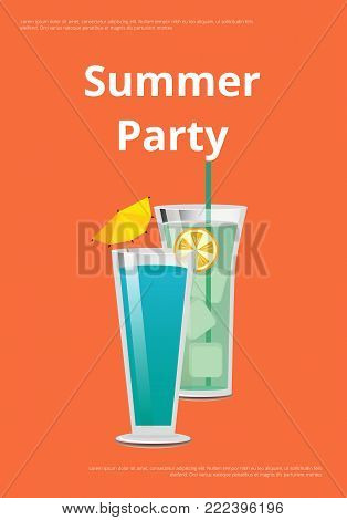 Summer party poster with mojito and mint cocktail summer party promo banner with drink made of vodka and liqueur with umbrella and orange vector