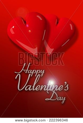 Valentine's Day image with two red hearts on a graduated red background and text.