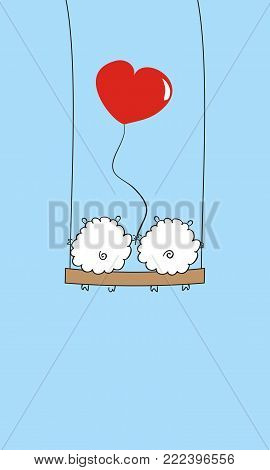 Two sheep with a heart on the swing.  Two lovers sheep with balloon. Beautiful holiday card. vector illustration. Love and Valentine's day. Horizontal image.