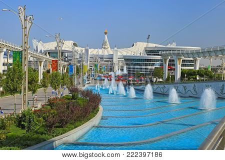 Ashgabat, Turkmenistan -  September 26.2017:  Part of the sport complex, which hosted 5 Asian Games.  Asian indoor games and martial arts, was held in Ashgabat,  Turkmenistan in 2017. From September 17 to September 27.