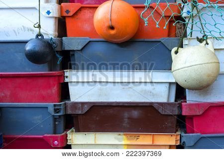 Fish Crates On The North Frisian Island Amrum In Germany