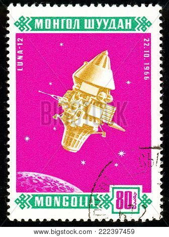 Ukraine - circa 2018: A postage stamp printed in Mongolia show Sputnik Luna 12. Series: Space satellites. Circa 1966.