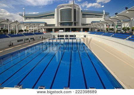 Ashgabat, Turkmenistan -  September 26, 2017:  Part of the sport complex, which hosted 5 Asian Games. Swimming pool.  Asian indoor games and martial arts, was held in Ashgabat,  Turkmenistan in 2017. From September 17 to September 27.