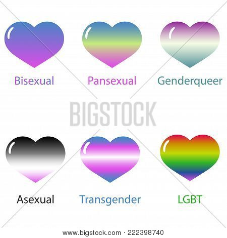 hearts painted in colors of the lgbt flag