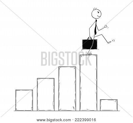 Cartoon stick man drawing conceptual illustration of businessman walking on top of chart and facing low profit data. Business concept of bankrupt and crisis.