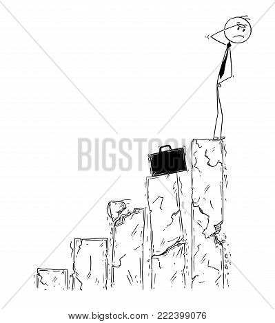 Cartoon stick man drawing conceptual illustration of businessman standing on top of chart and facing market crash. Business concept of bankrupt and crisis.