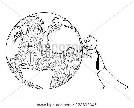 Cartoon stick man drawing conceptual illustration of businessman pushing or rolling world Earth globe. Business concept of international, global, worldwide business and responsibility.