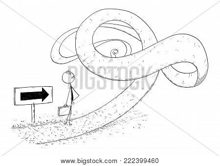Cartoon stick man drawing conceptual illustration of businessman facing obstacle or problem in his way. Business concept of crisis and career difficulty.