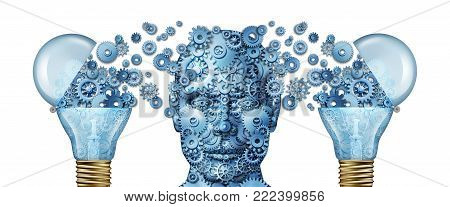 Corporate creative training and business knowledge consulting as gears shaped as a human head and light bulb as a 3D illustration.