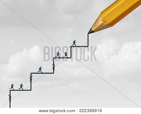Steps of success planning as people running and climbing with a pencil drawing an opprtunity to succeed with 3D illustration elements.