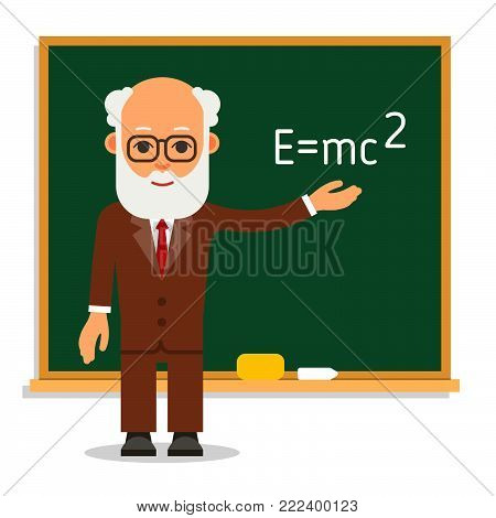 Teacher. Elderly Male Teacher Stand On Lesson At The Blackboard In Classroom. Professor Showing Elem