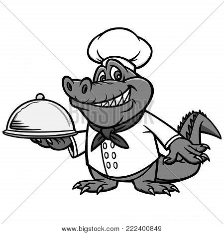 Cajun Chef Illustration - A vector cartoon illustration of a Cajun Alligator Chef mascot.