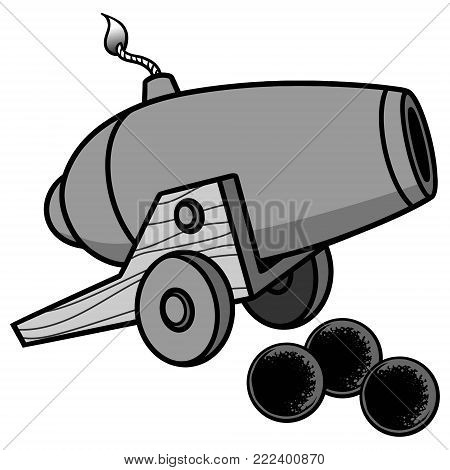 Cannon Illustration - A vector cartoon illustration of a cannon with some cannon balls.