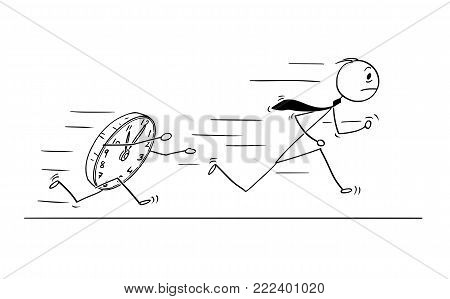 Cartoon stick man drawing conceptual illustration of businessman running from large clock. Business concept of rushing for deadline.