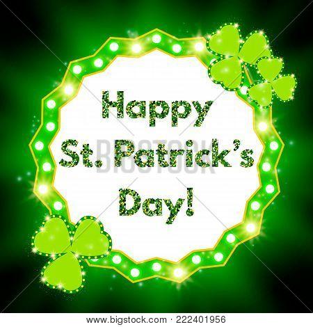 Saint Patricks Day Banner With Shining Shamrock