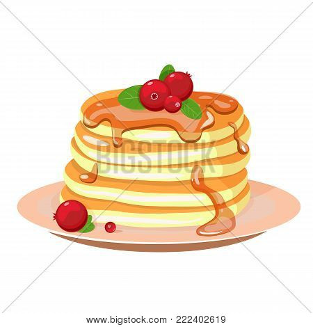 Stack of pancakes on a plate with whipped cream and cranberries. Vector illustration