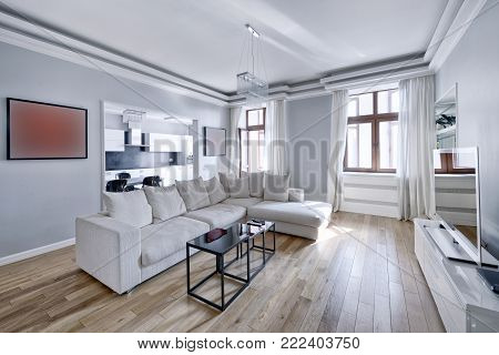 Russia Moscow - Modern interior design living room, urban real estate.