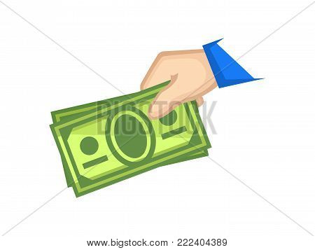 Icon cash payment. Hand holding cash in colored illustration
