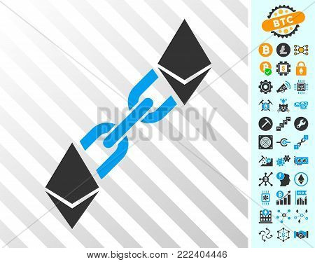 Ethereum Blockchain playing cards pictograph with additional bitcoin mining and blockchain images. Flat vector icons for crypto currency websites.