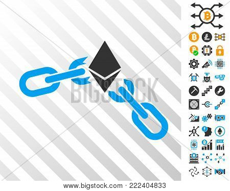 Ethereum Broken Chain playing cards pictograph with additional bitcoin mining and blockchain pictograms. Flat vector images for bitcoin toolbars.