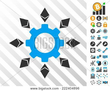 Ethereum Configuration Gear playing cards pictogram with bonus bitcoin mining and blockchain pictographs. Flat vector pictures for crypto-currency toolbars.