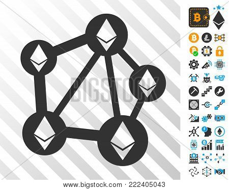 Ethereum Network playing cards pictograph with bonus bitcoin mining and blockchain icons. Flat vector images for bitcoin software.